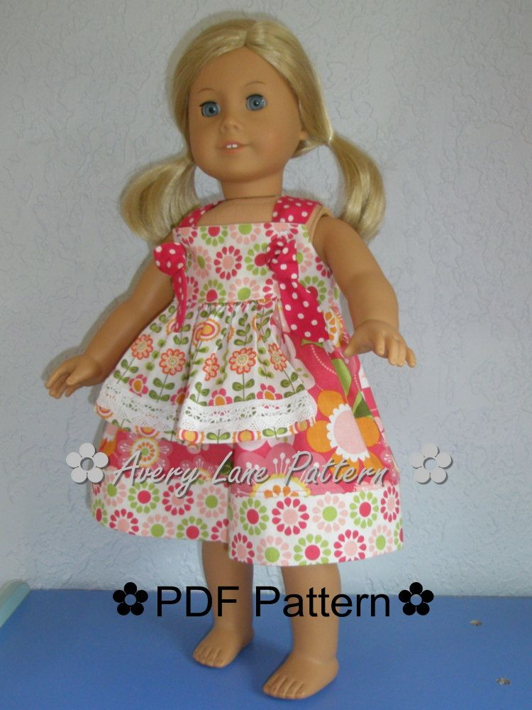 18 inch doll clothes pattern Apron Knot Dress Boutique Sewing ...