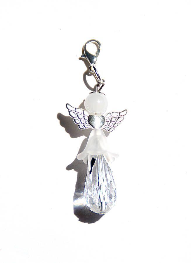 Flower Angel Child beaded Angel with skirt white crystal pendant ...