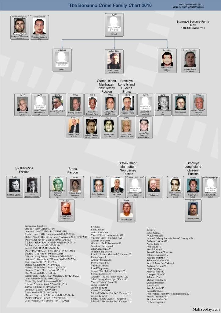 Mafia family charts and leadership 2011 mafia today
