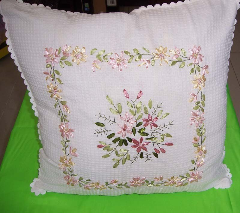 Ribbon Embroidery  Cushion And Pillow Covers  Pinterest