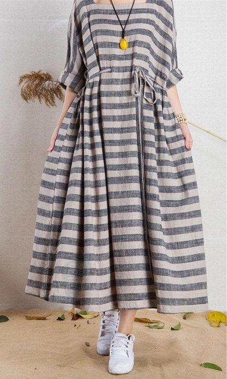 Mal ajustés robe lin rayé livraison 5 par PrettyQualityDecor