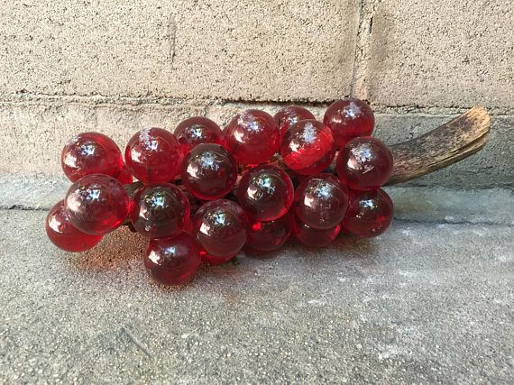 60 S Mid Century Red Lucite Glass Grapes Cluster Mid Century Decor Really Cool Stuff Classic Home Decor