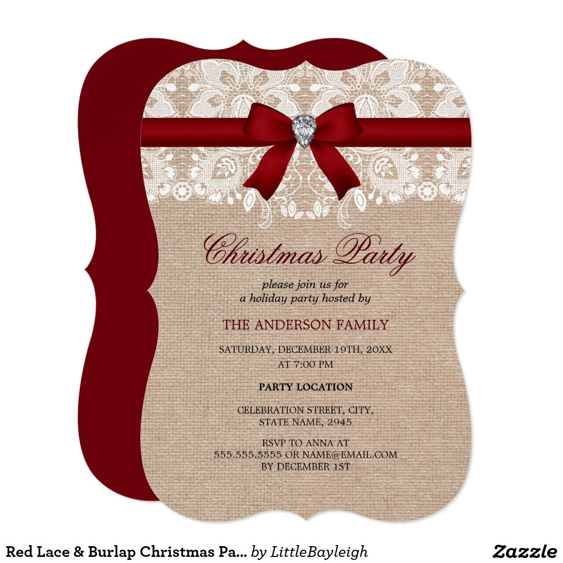 Red Lace  Burlap Christmas Party Invitation  Christmas Party