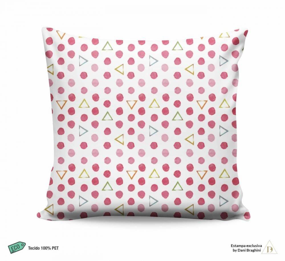 Almofada Estampa Poa Rosa com Triângulos