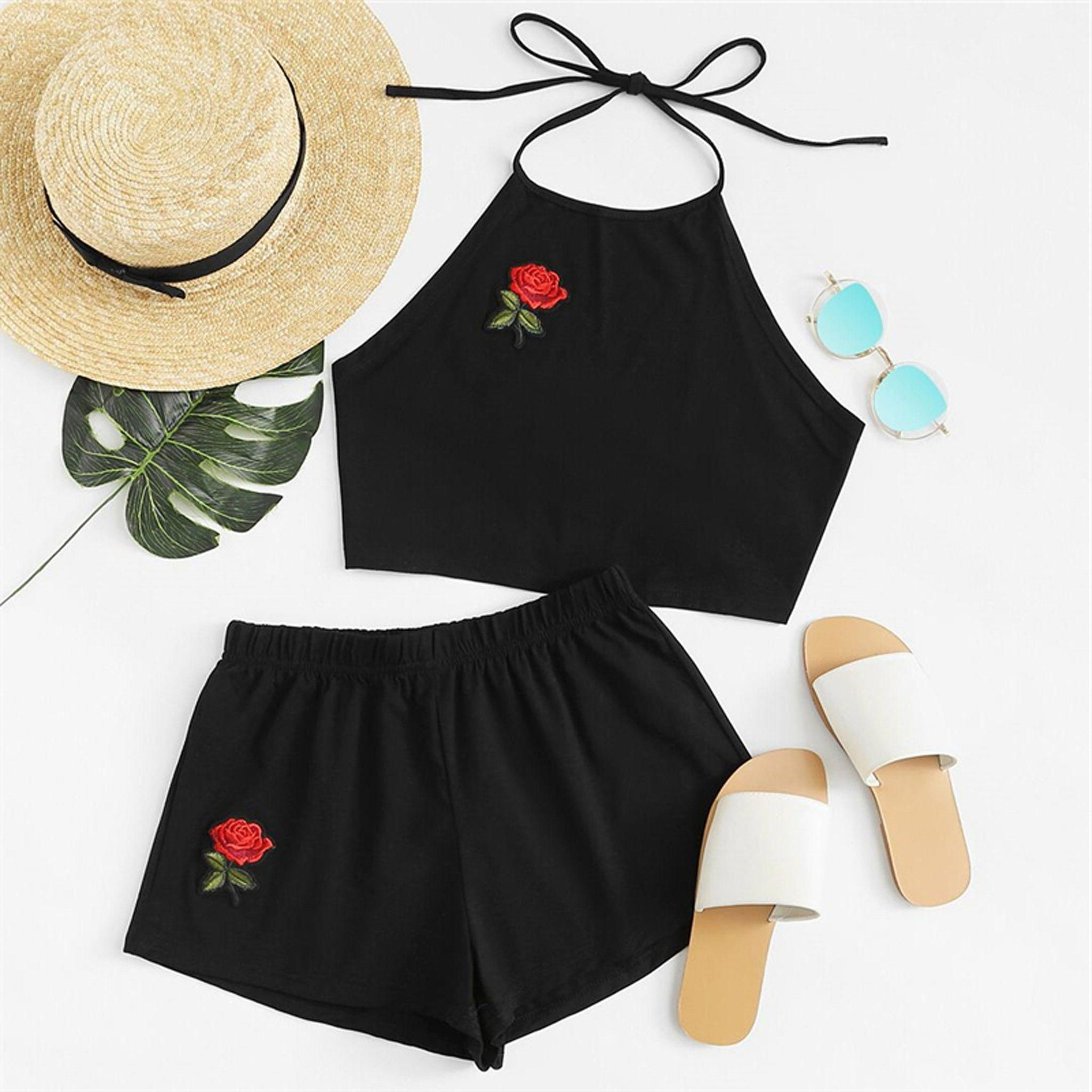 aeddea27c3f928 Cute Summer Outfits for Teen Girls - Casual Girly Rose Embroidered Beach  Halter Top with High Waisted Shorts Matching Set in Black - www.