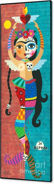 Frida Kahlo Mermaid Angel with Flaming Heart Acrylic Print by LuLu Mypinkturtle