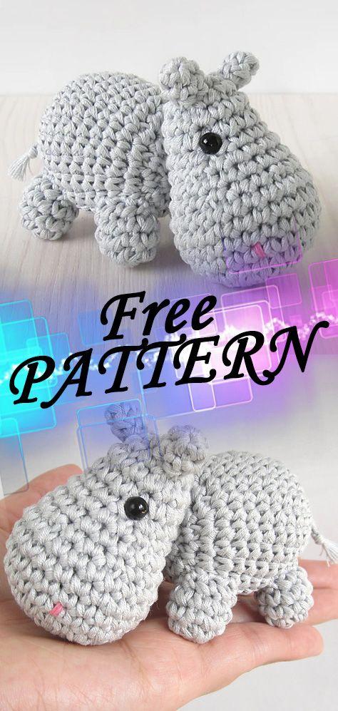 Small hippo Free Crochet Pattern – CrochetIdeasFree #crochetdinosaurpatterns