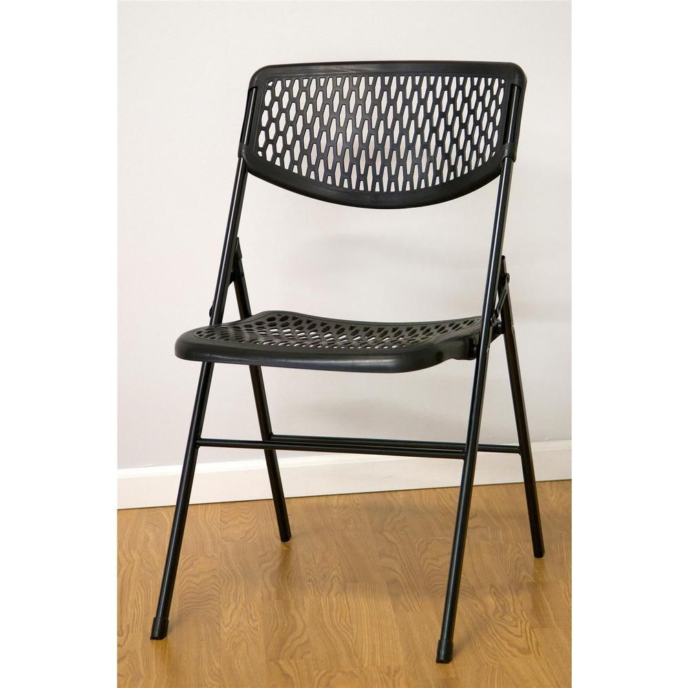 Marvelous Commercial Resin Mesh Folding Chair In Black 4 Pack Machost Co Dining Chair Design Ideas Machostcouk