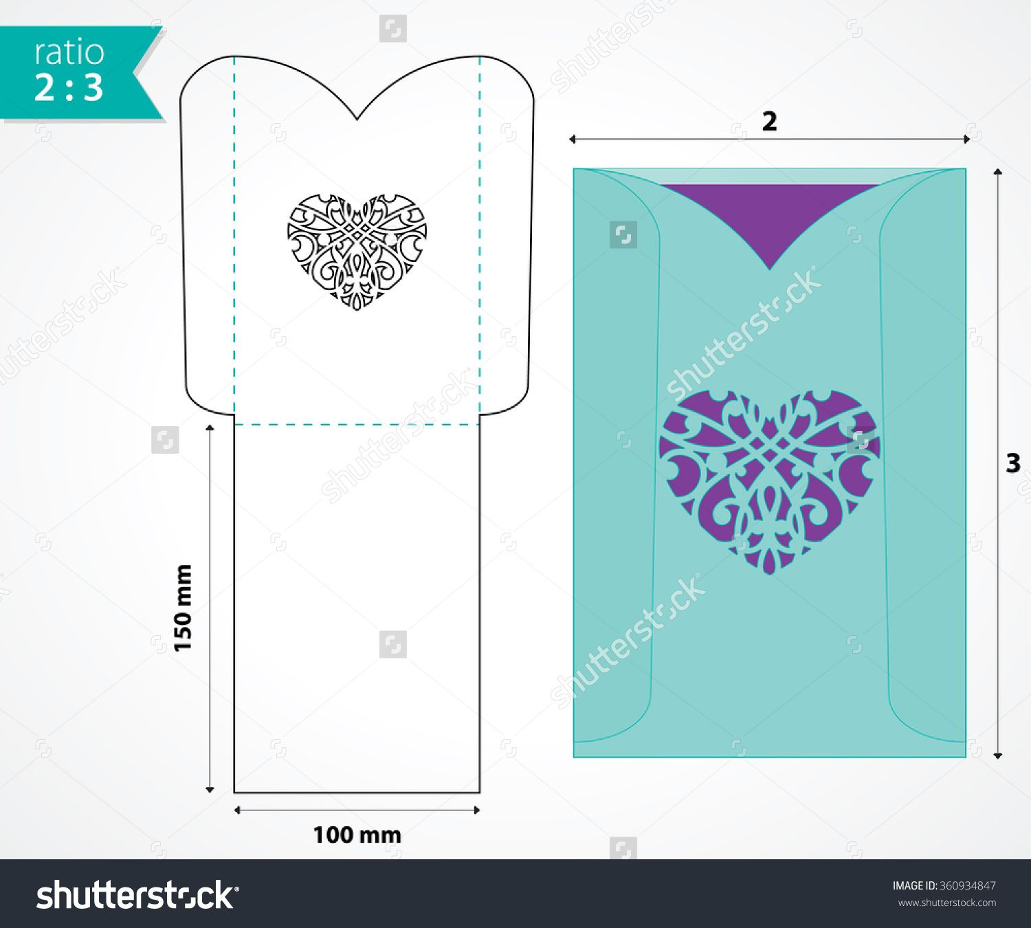 Pocket Envelope Template With Die Cut Heart Shape Wedding