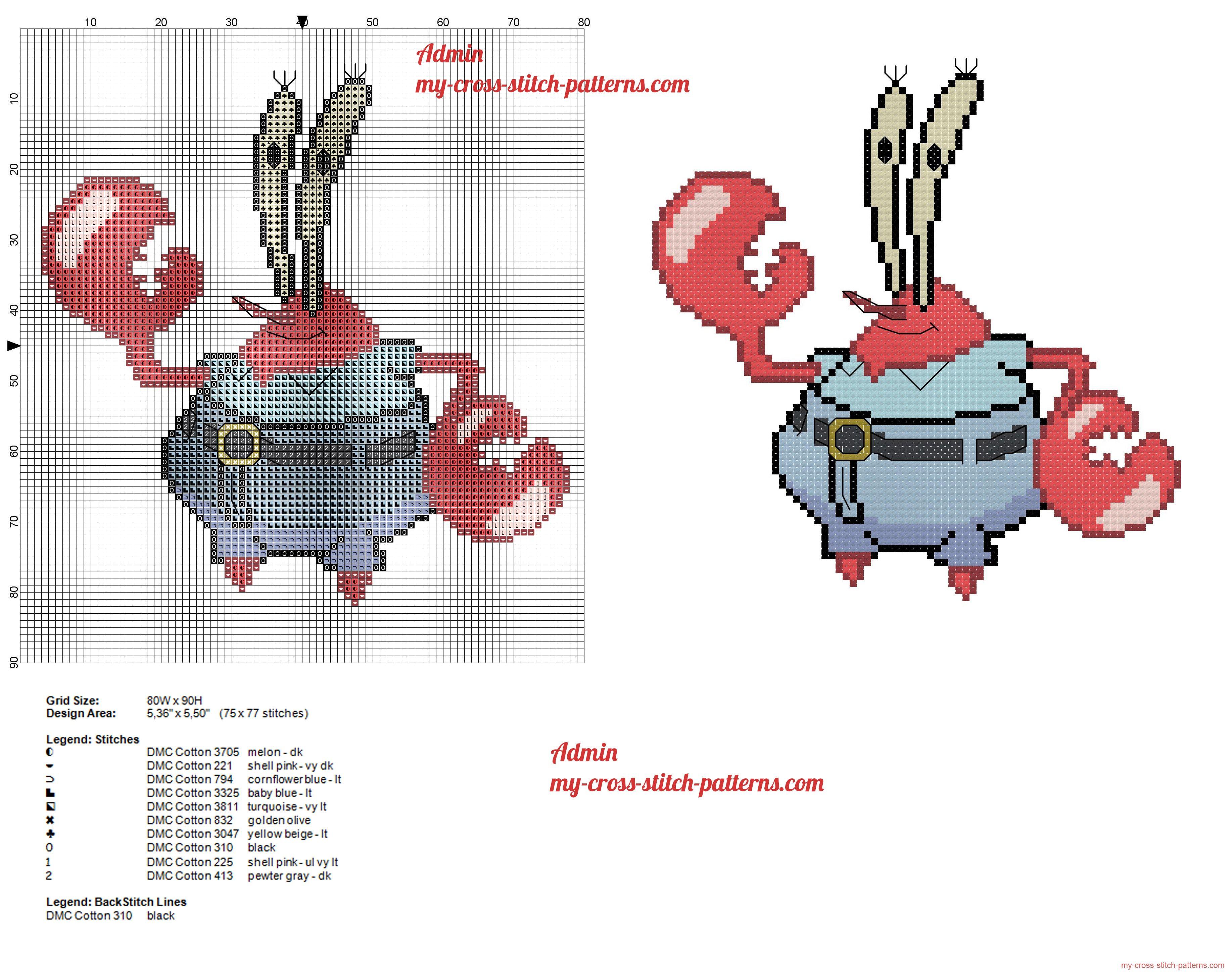 mr krabs from spongebob cross stitch pattern spongebob