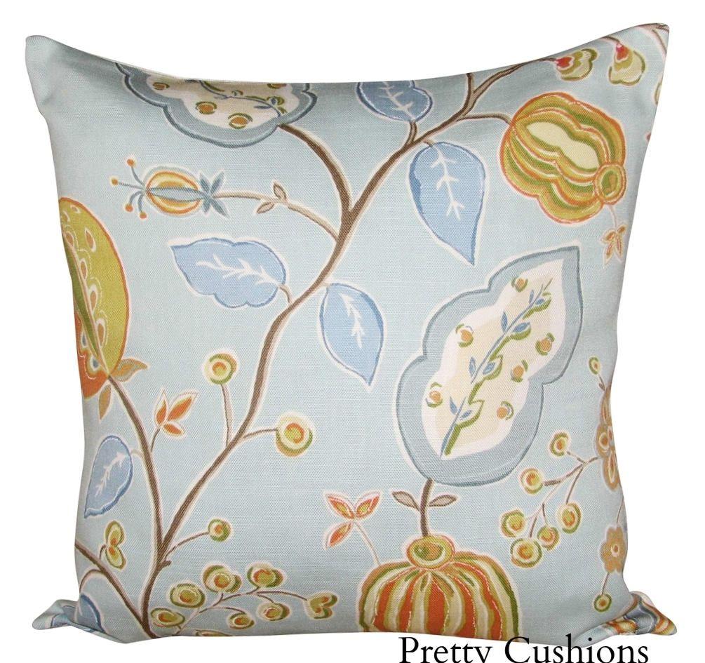 Sanderson fantasy garden tangerine u aqua cushion cover