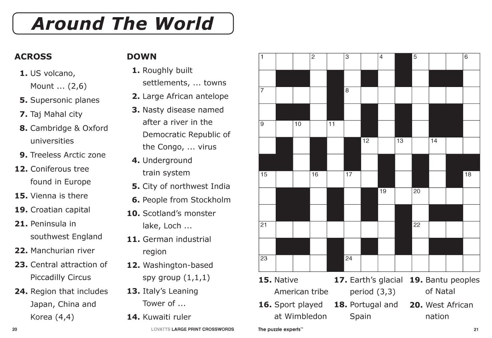Large Print Crossword Puzzles Pdf Check more at https
