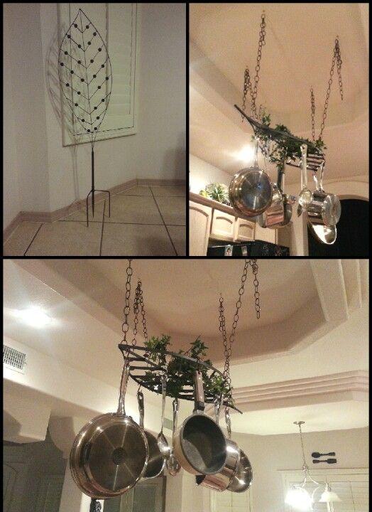 Repurpose Hanging Pot Rack : repurpose, hanging, Hanging, Rack., Repurposed, Garden, Stake, Adding, Chains, S-hooks, Pans., Little, He…, Hanging,