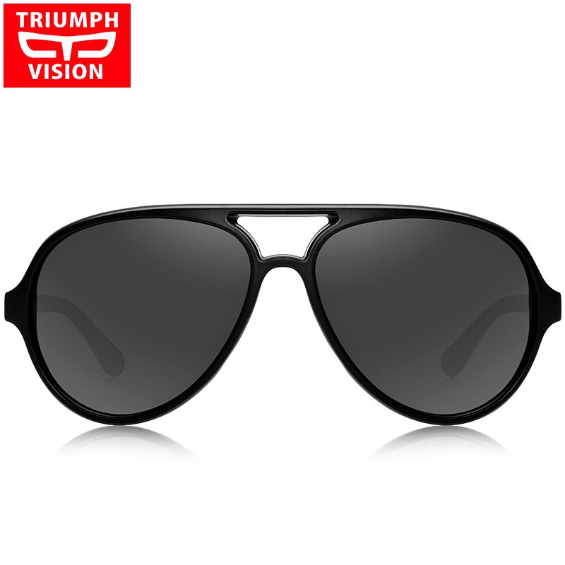 7bf85798f14 TRIUMPH VISION Black Aviator Sunglasses Men 2017 Brand Shades Oculos Male  Original Pilot Sun Glasses For Men Fashion New Glasses-in Sunglasses from  Men s ...