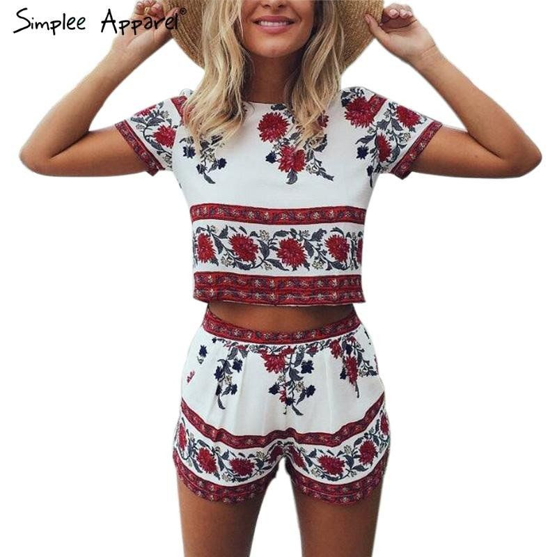 fea581f16384 Simplee Apparel Elegant jumpsuit romper two-piece suit Boho chic flower  playsuit women Summer style overall Casual beach leotard