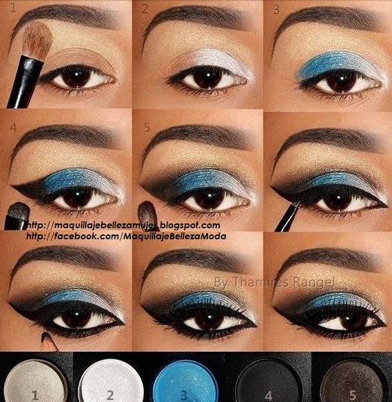 maquillaje para navidad con sombras azul plata y delineado negro by
