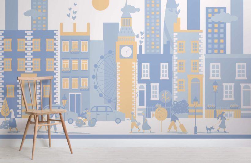 Blue London City Living Wallpaper Mural