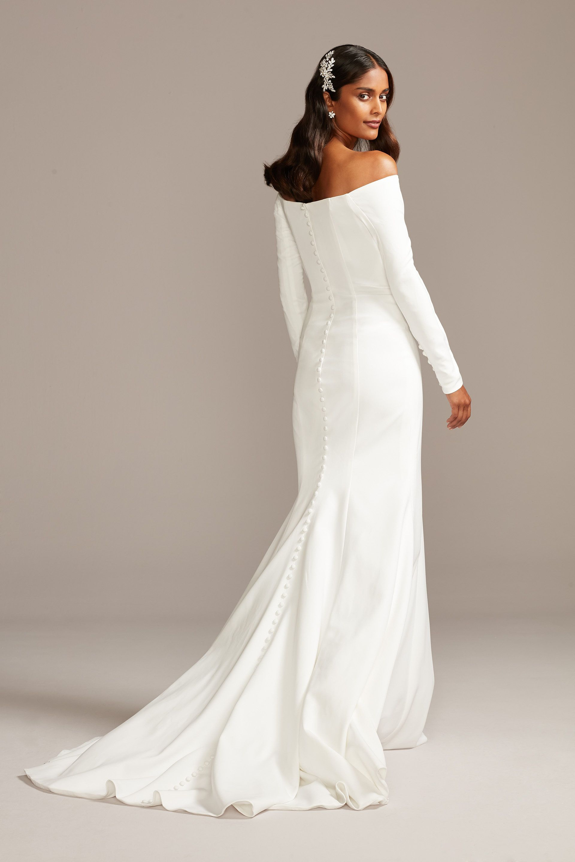 Off The Shoulder Buttoned Back Crepe Wedding Dress David S Bridal In 2020 Petite Wedding Dress Davids Bridal Wedding Dresses Crepe Wedding Dress
