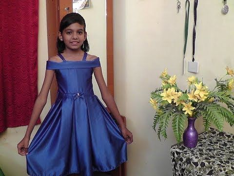 6b02484660 KIDS SATIN DESIGNER OFF SHOULDER BOX PLEAT FROCK CUTTING AND STITCHING  PART-2 - YouTube