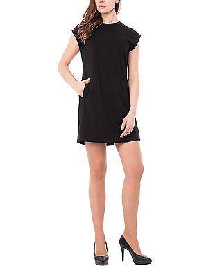 para Mediano nero Vestido Negro mujer Nuevo Corto Isabella Abito Roma vrqv5R0f