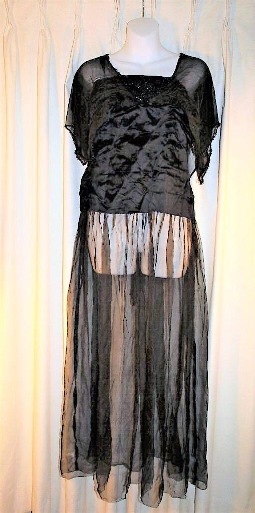 Edwardian Evening Gown, Black Silk Satin, Beaded Gown, Evening Dress ...