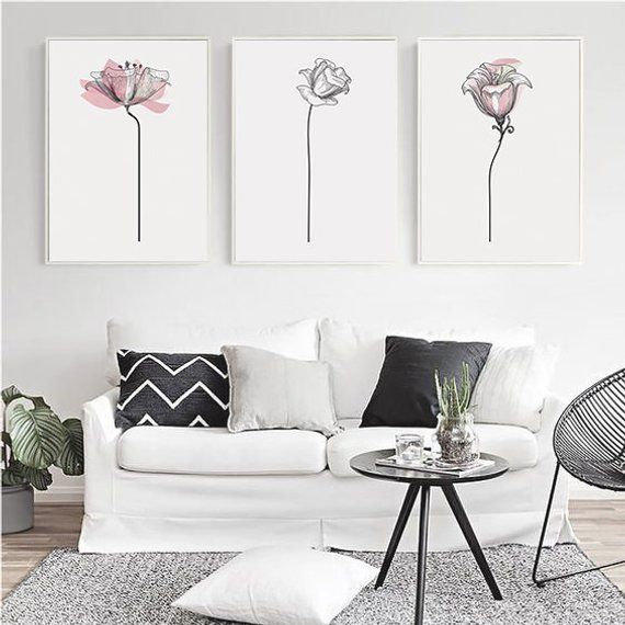 Set Of 3 Wall Art Printable Flowers Print Set Of 3 Etsy Picture Wall Living Room Minimalist Wall Art Home Decor