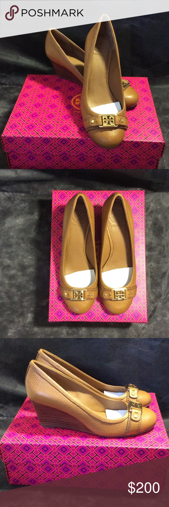New in Box ToryBurch Royal Tan Ambrose 65 MM Wedge Tumbled Leather, Royal Tan. available size 7 and 7.5 (minor scratch unnoticeable) Tory Burch Shoes Wedges
