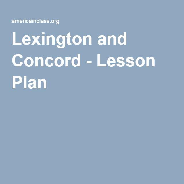 Lexington and Concord - Lesson Plan