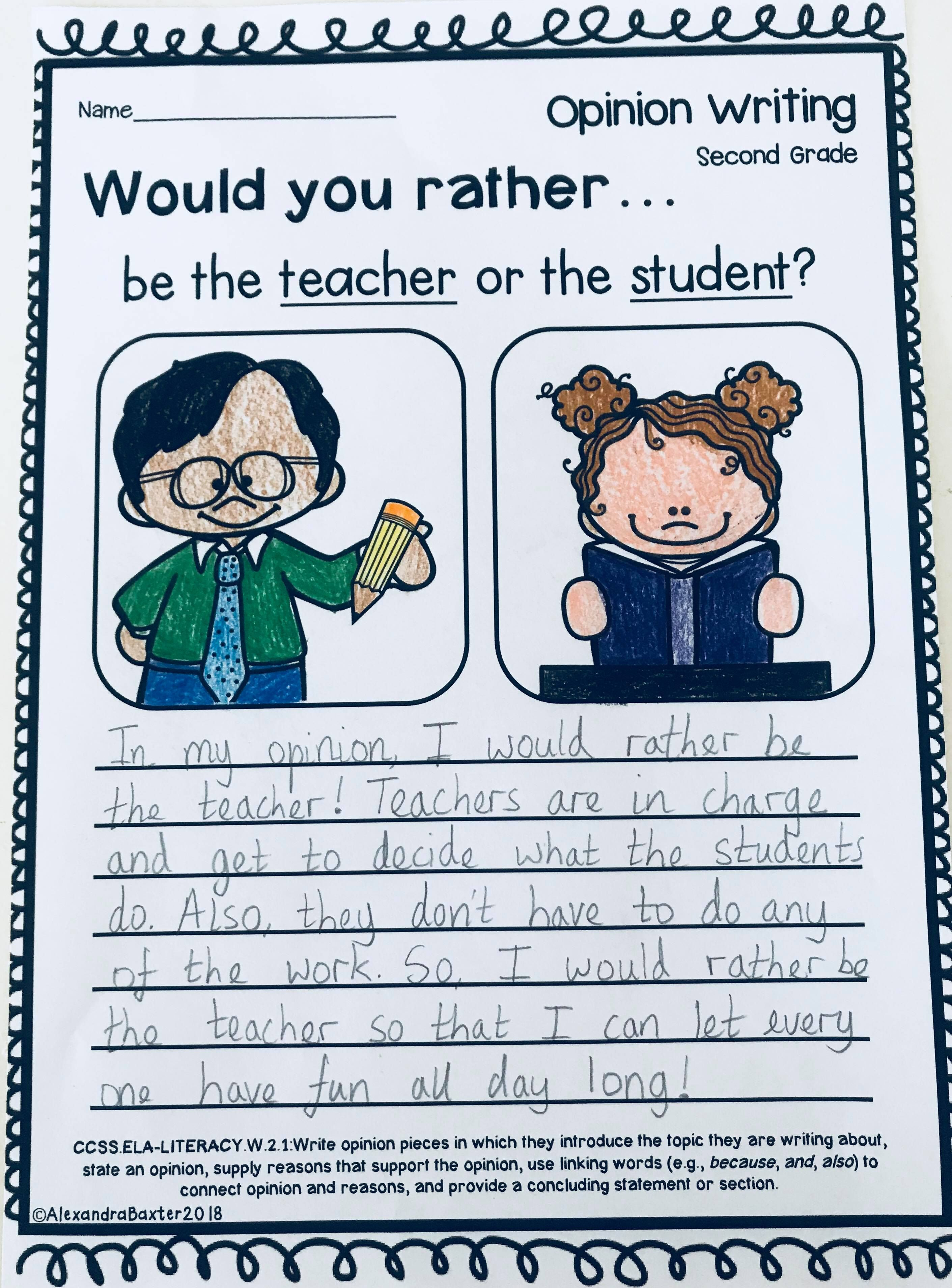 Second Grade Opinion Writing Prompts Worksheets