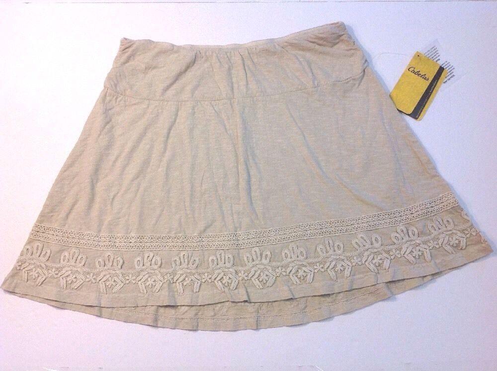 "Cabela's M Skirt Beige 100% Cotton Embroidered Hem 18"" long BEAUTIFUL"