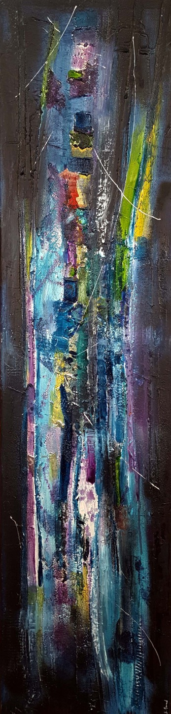 peinture moderne acrylique et mati u00e8re noir bleu turquoise violet vert jaune   peintures par