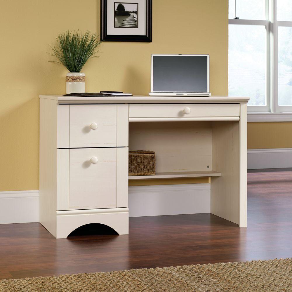 Amazon.com   Sauder Harbor View Computer Desk, Antiqued White Finish   Home  Office