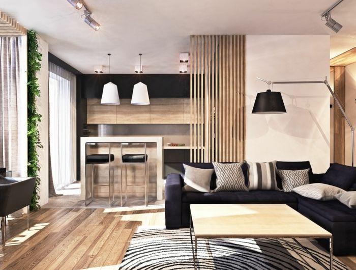 modele de cuisine americaine, façade cuisine en bois, petit bar en