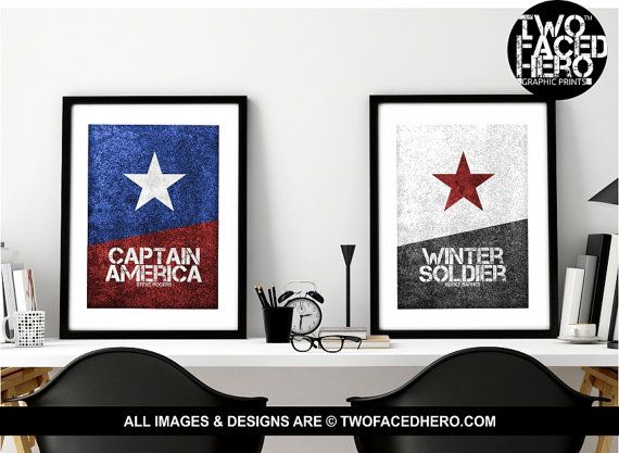 Stucky Poster Pair, 2x A4 or A3 Poster Prints, Steve Rogers, Captain ...