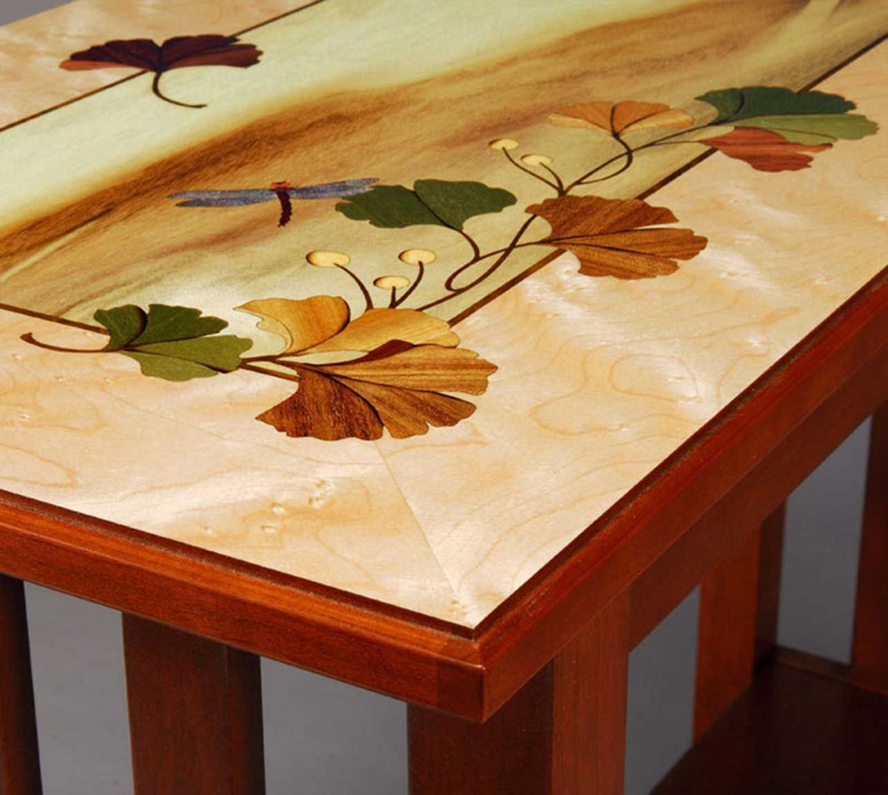 Hudson River Inlay Ginkgo Leaves Table