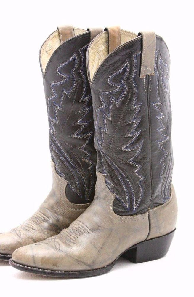 Justin Diamond J Mens Cowboy Boots 7 EE wide blue gray 2 tone Leather Western #Justin #CowboyWestern