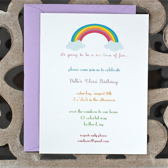Rainbow Birthday Invitations Baby Shower First Invites