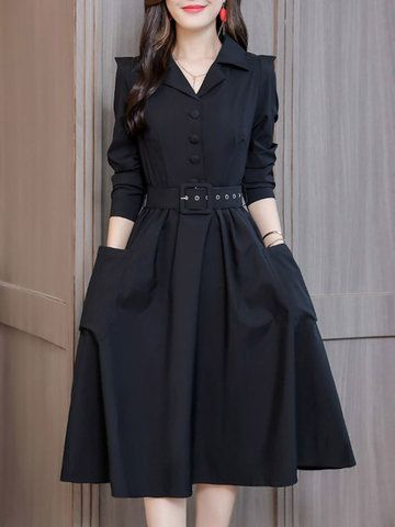 Slim Notched Collar Long Sleeve Lacing Solid Color Dress is comfortable, see other simple casual dress on NewChic Mobile