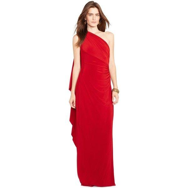 Lauren Ralph Lauren One-Shoulder Ruched Gown ($180) ❤ liked on ...