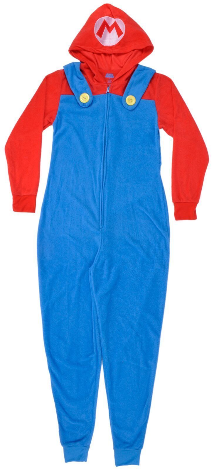 Super Mario Pajama Union Suit Sleepwear Microfleece Cosplay Womens