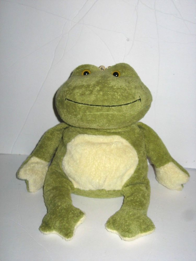 2715ebf7729 Ty Beanie Baby Plush Charm Green Off-White Frog with Crown Bean Bag ...