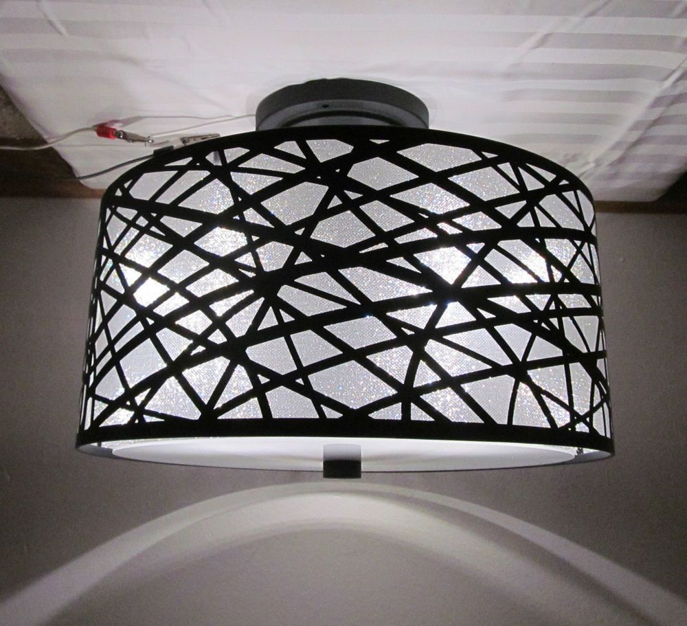 Black Rv 12 Volt Led 13 1 2 Round Dinette Ceiling Light Metal Sparkle Drum Shade Ebay Ceiling Lights Drum Shade Light