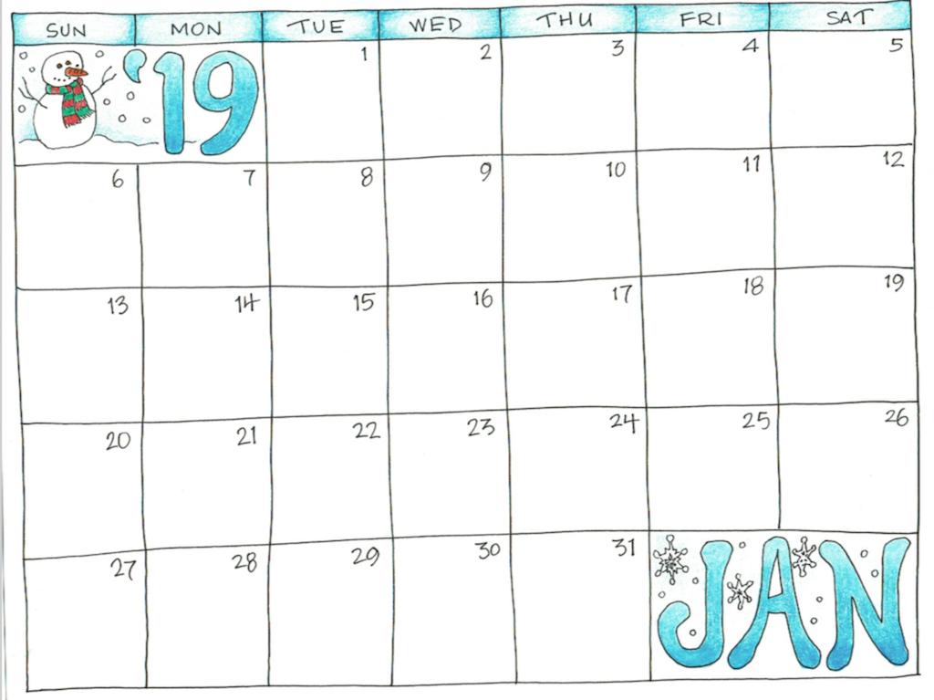 Blank January 2019 Calendar Printable For Kid January 2019 Calendar for Kids | 250+ January 2019 Calendar