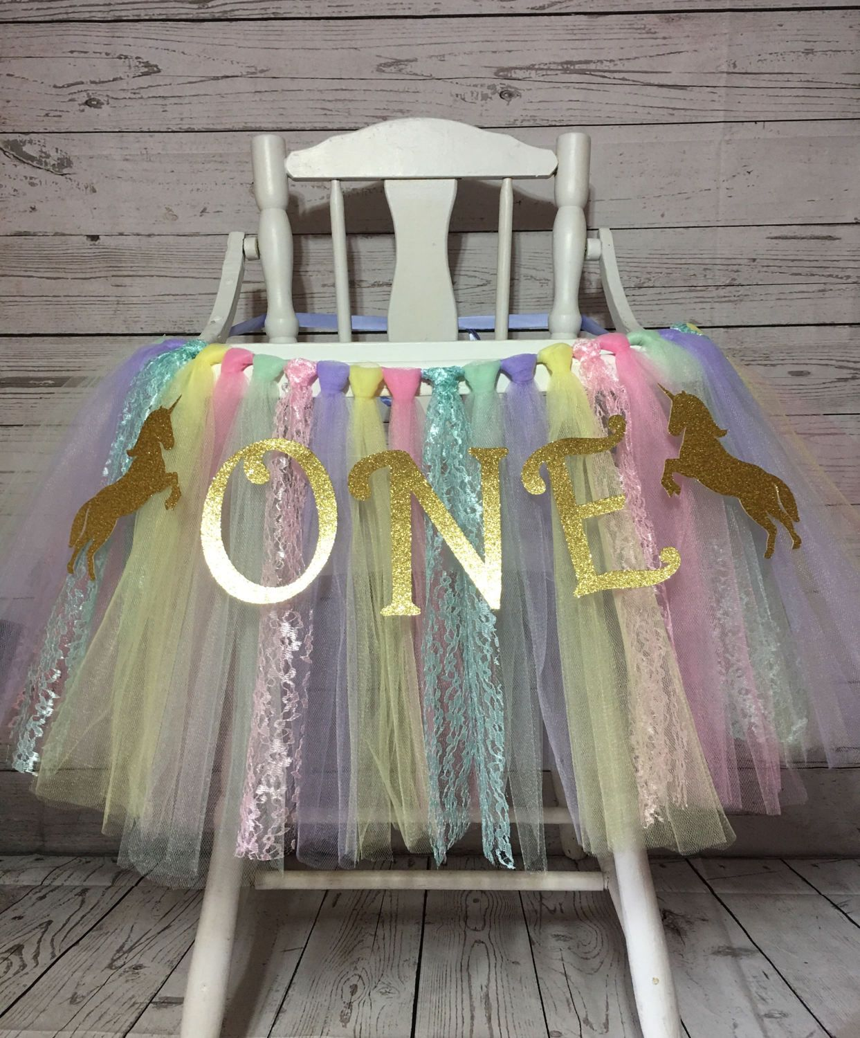 Unicorn High Chair Tutu First Birthday Smash Cake Decorations Highchair Shirt Skirt By AvaryMaeInspirations