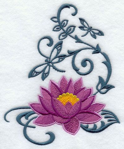 Lotus Flower With Vines Tattoos Machine Embroidery Designs At
