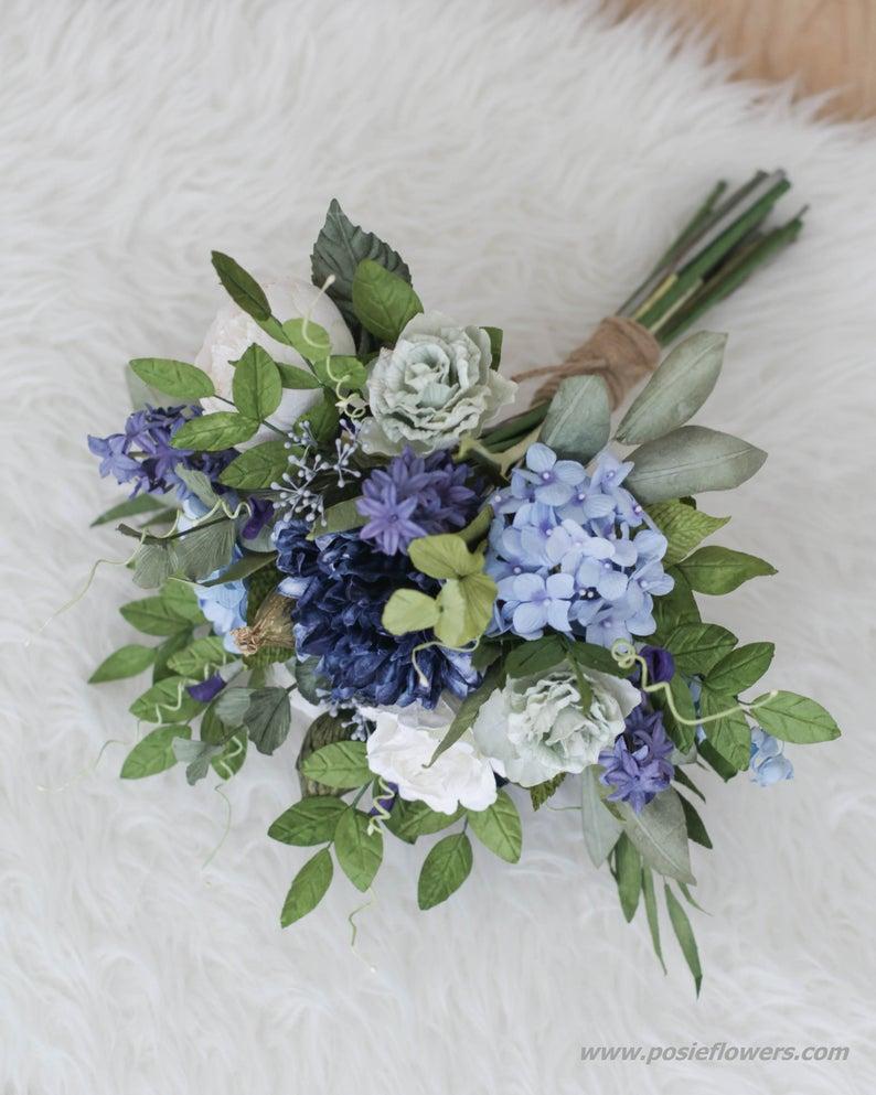 Diameter 9″ Hand tied NAVY BLUE Paper Bridal Bouquet – Blue Baroness, Boho paper bouquet, Boho bouqu