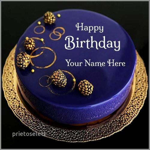 Birthday Cake For Man With Name Lovely Happy Royal Blue Designer Your Print On