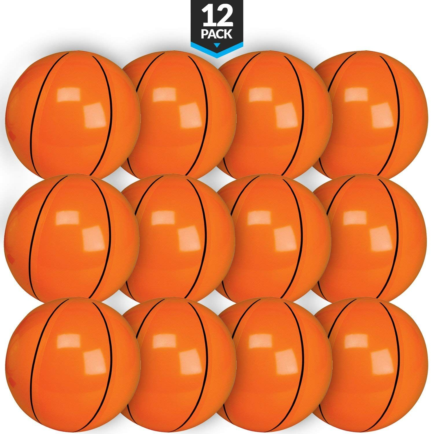 Bedwina Inflatable Basketballs 16 inch Favors Beach Balls for Sports Themed Birthday Parties Beach Pool Party Pack of 12 Games