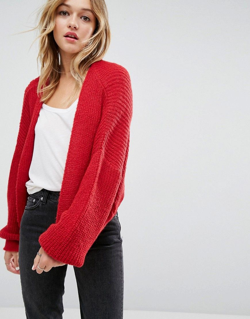 ASOS Chunky Cardigan In Fluffy Rib - Red | Products | Pinterest ...