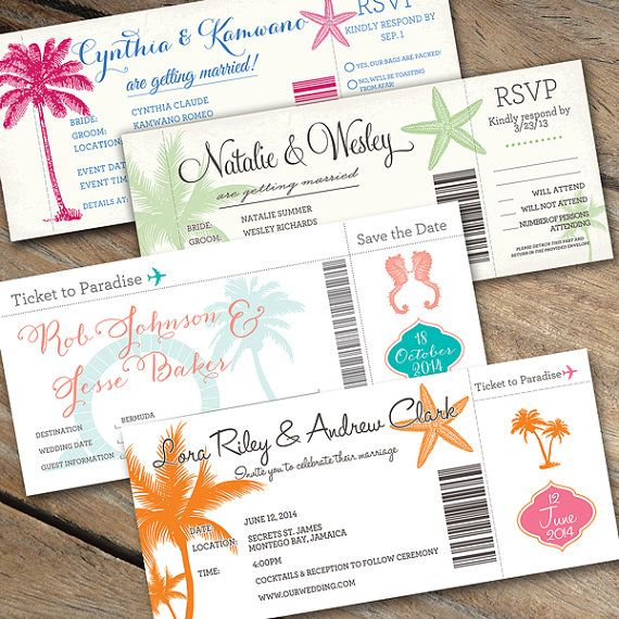 Boarding Pass Wedding Invitations with optional detachable RSVP by - plane ticket invitation template